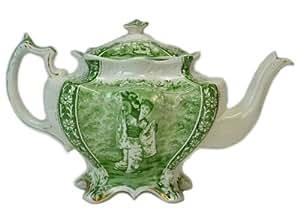 Théière en porcelaine avec décoration de style oriental en vert, Anglais Antique Style Victorien esthétique Mouvement, circa 1875