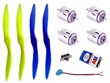 #7: Hobby project model components - 4 Motor, 4 Propeller, 9vBattery, Connector, Switch for static quad-copter model (static model, can't fly
