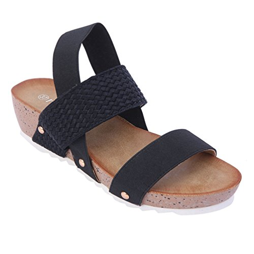 Franco Sarto Peep Toe (Damen Slipper Folie Keil Sandalen Innensohle Zehenkappe Gepolsterte Komfort Plateau-Sandaletten)