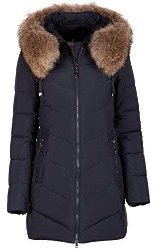 868 Damen Winterjacke mit Echtfellbesatz (50, blau) (Zara Mantel Mit Kapuze)