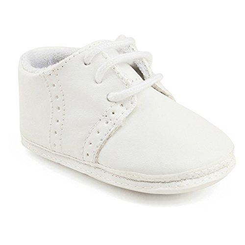 OOSAKU Baby Jungen Schuh Neugeborene erste gehende Schuhe weiche alleinige Lederne Turnschuhe- Gr. 3-6 Monate (11cm) , Weiß