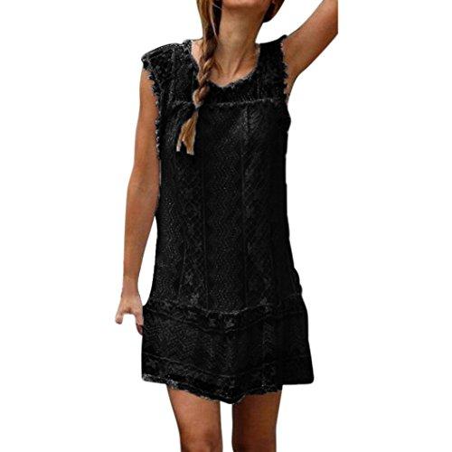 feiXIANG frauen locker spitze kleider strand Hemdkleid Damen kurzen kleid tassel mini - kleid Sommer Ärmelloses rockkleid O-Ausschnitt Shirtkleid (S, - Strand Boho Kleid Hochzeit
