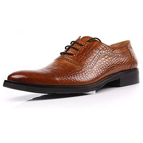 Männer Formal Leder Schuhe Single Schnüren Hochzeit Geschäft Braun Schwarz Spitze Halbschuhe Krokodil Muster Frühling Eben Größe 37-47 , Brown , 46 (Krokodil Cowboy Stiefel)