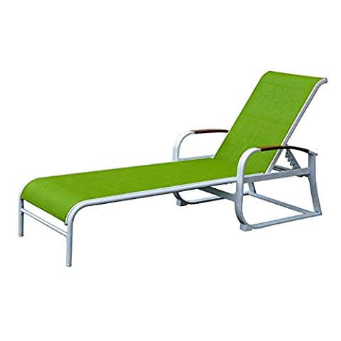 Sling Fabric Longue Steel Tube Stackable Lounge Chair Garden Patio Chair (Green)