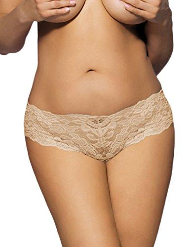 ohyeahlady Damen Übergröße Floralen Spitze Unterwäsche Unterhosen Transparente Panties Hipsters Beige
