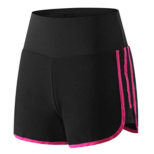 Wantdo Damen Leichtgewichts-Fitness Quick Dry 2-in-1-Jugend-Coole Sportshorts Kurze Sporttights Schwarz & Pink Small