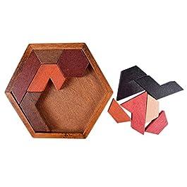 Isuper Puzzle di Legno Tangram Puzzle in Legno Gioco per Bambini e Adulti Classic Handmade Rompicapo Logic Puzzle Giocattoli educativi