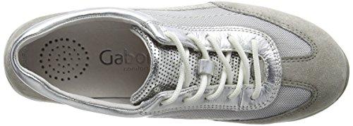 Gabor - Goodie, Scarpe da ginnastica Donna Argento (Silver (Silver Mesh/Leather/Grey Velour))