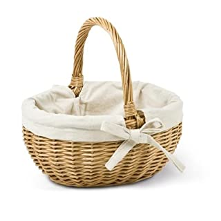 Adam Schmidt Children's Oval Wicker Basket with Fabric Lining 260 x 200 x 140 mm Natural Solid Willow/White