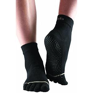 Damen und Herren 1 Paar ToeSox Yoga-Zehen-Knöchelsocken aus biologischer Baumwolle in schwarz