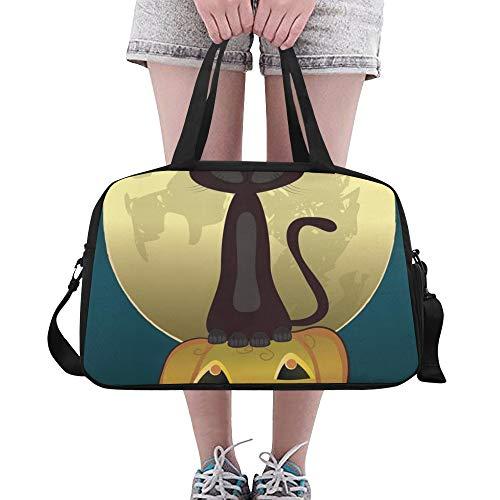 Yushg Schwarze Katze Hexen für Halloween benutzerdefinierte große Yoga Gym Totes Fitness Handtaschen Reise Seesäcke mit Schultergurt Schuhbeutel für Übung Sport Gepäck für Mädchen Mens Womens Outdoor