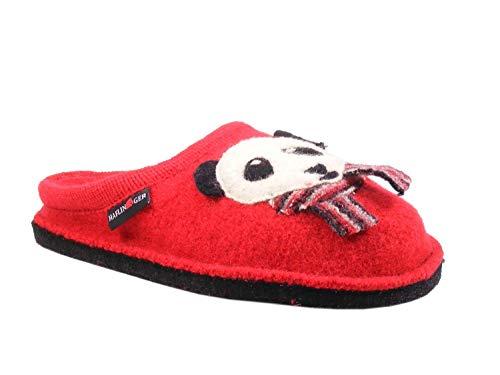 Pantofole haflinger flai panda rosso 31306111 in feltro lana 40