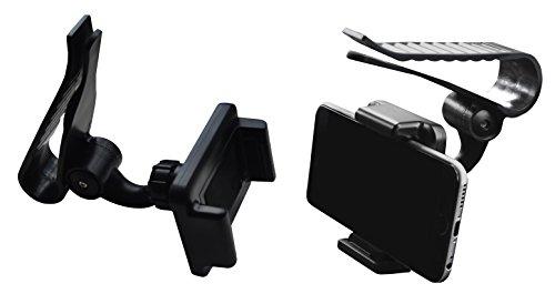 Lilware Universal Sun Visor Board Clip Supporto per Visiera Parasole Tenere Telefoni / PDA / GPS / MP3 / MP4 Lettori Dotato. Auto Cellulare Monte con Una Larghezza Massima 85 mm e Rotazione di 360° Regolabile. Nero