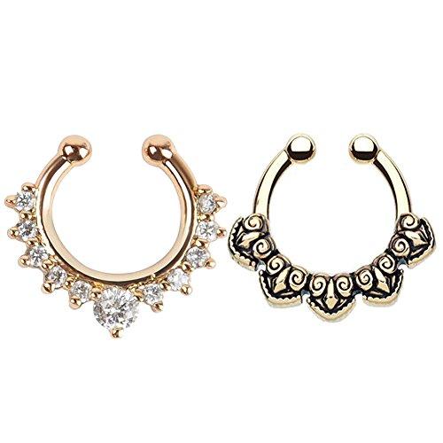 GOOTUUG 2 Stück Fake Nase Ring Septum Piercing Schmuck für Frauen Nicht Piercing Clip auf Körper Piercing Schmuck (Gold + Lila)