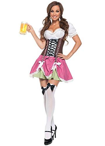 YOUJIA Damen Dirndl Oktoberfest Karneval Kostüm Traditionelles Kleid Halloween Cosplay Trachtenkleid Maid Kostüm (Pink,Eine Größe)