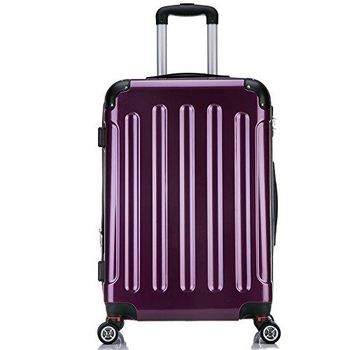 EUGAD #376, Reisekoffer Hartschale Hochglanz Trolley Volumen erweiterbar, Reise Koffer Trolley 4 Rollen Hartschalenkoffer groß, leicht und günstig, M/L/XL/Set Brombeere (XL, 76 cm & 110 Liter)