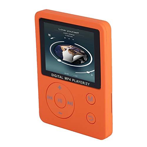 Kafuty MP4 Tragbarer Player Mini Sport Musik Player USB2.0 Rundtasten Player Max. Unterstützung für 32G Speicherkarte und Unterstützung für Musik, Radio, Aufnahme, Video usw.(Orange)
