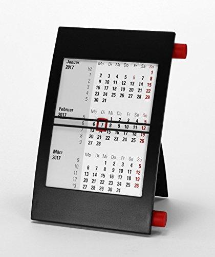 HiCuCo 3-Monats-Tischkalender für 2 Jahre (2017 und 2018) - Aufstellkalender - mit Drehmechanik - schwarz/rot