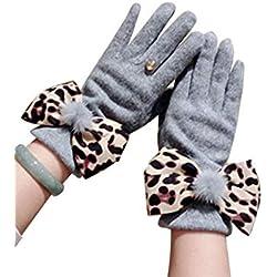 Guantes De Leopardo Estampado Arco De Felpa Gruesa Cálida Pantalla Táctil Grey One Size