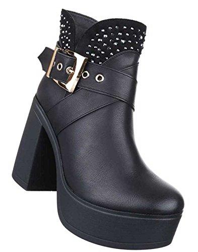Damen Boots Stiefeletten Schuhe Plateau Mit Strass Braun Schwarz 35 36 37 38 39 40 41 Schwarz