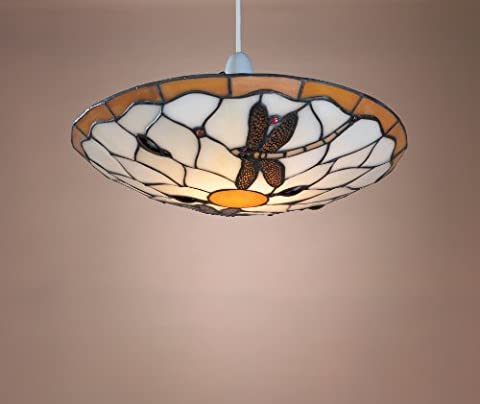 Tiffany Style Stained Glass Metal Dragonfly Uplighter Ceiling Light Shade, 36cm - Brown