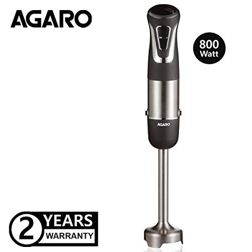 AGARO Marvel 800-Watt Hand Blender, 2 Blending Modes with Speed Regulator (Black)