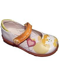 LEA LELO Zapato de Niña Material Piel. Suela de Goma. Cierre Fácil. Color Blanco con Colores