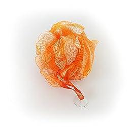 1541 London Large Exfoliating Bath & Shower Body Puff/Scrunchie/Buffer (Tangerine Orange)