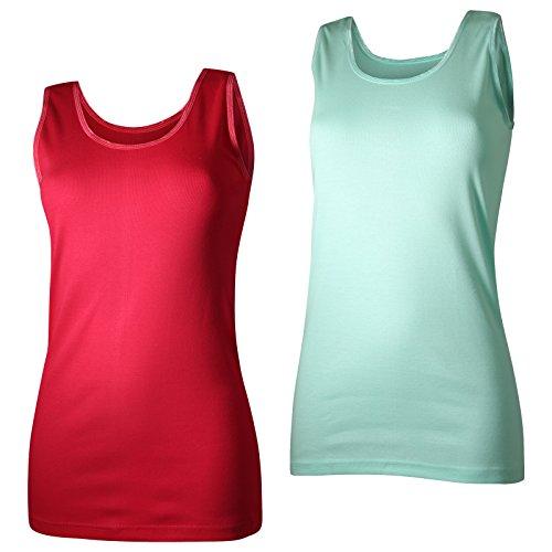 Lavazio 2 Damen Unterhemden Feinripp supergekämmte Baumwolle in tollen Farben, Größe:48/50, Farbe:Koralle/mintgrün (Mintgrün Und Koralle)