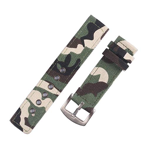 Armee-Tarnung Nylon Zulu justierbarem Uhrenarmband 18mm 20mm 22mm 24mm Uhrenarmbänder mit Silber-Edelstahl-Schnalle (Grün) -