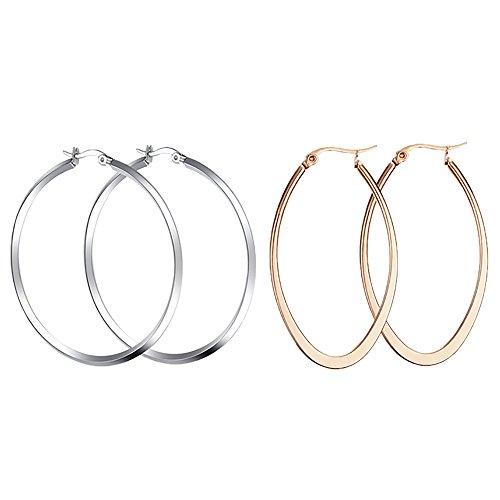 eibung Creolen Ohrringe, 2 Paare Schlicht Modern Poliert Glänzend Edelstahl Hoop Earrings Schmuck - (Silber + Roségold) (Adult Kostüme Billig)