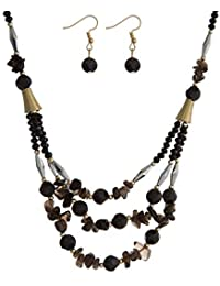 d2b2cc2329a8 Tata Gisèle Juego de Collar Fantasía y Pendientes con Varios – Metal  Dorado