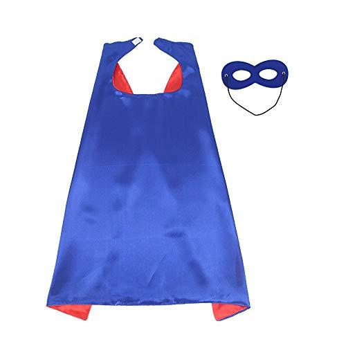 Topways® Superhelden Kostüm Capes und Masken für Kinder, Masquerade Kostüm für Kinder (Blue-red)