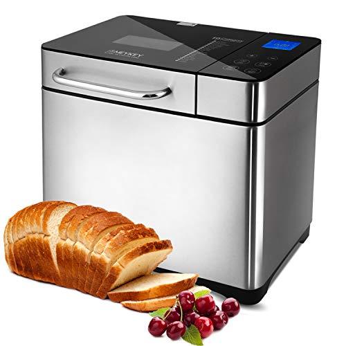 Brotbackautomat 710W Backmeister mit Automatische Zutatenbox, 19 Programme, Edelstahl Bread Maker Vollautomatische für 500-1000g mit 15 Stunden Timing-Funktion, Sichtfenster, Silber