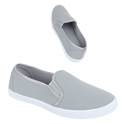 Slipper Damen Schuhe Low-Top Moderne Ital-Design Halbschuhe Grau