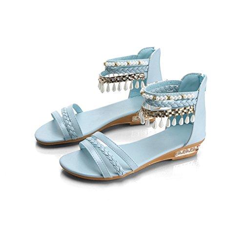 Damen Sandalen Peep-Toe Bohemian Stil mit Strass Dekoriert Flach Geflochten Modisch Strand Urlaub Topaktuell Schuhe Blau