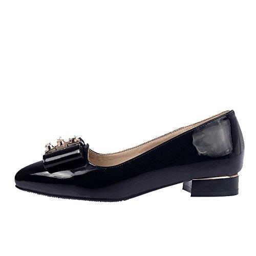 VogueZone009 Femme Couleur Unie Pu Cuir à Talon Bas Pointu Tire Chaussures Légeres Noir