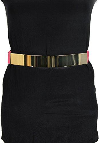 Cintura da donna di Calonice Amorino con fibbia in metallo con fibbia dorata o argentata, banda elastica fascia per la viata Taglia Unica 30 x 5 cm Oro Rosso Chiaro