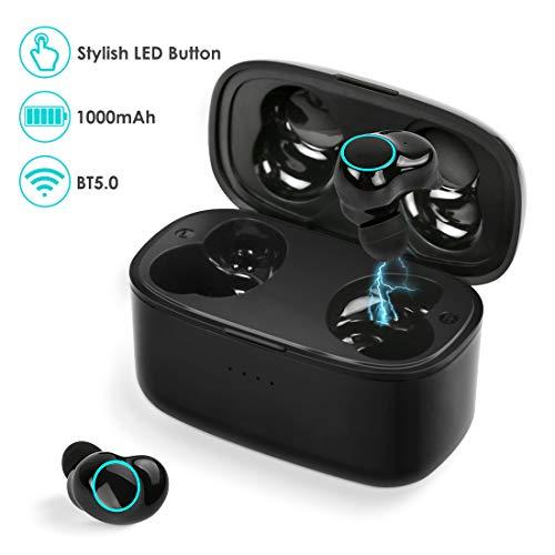 Auriculares Bluetooth, Auriculares Inalámbricos Bluetooth 5.0 de Sonido Estéreo con Caja de Carga, Adecuado para Deporte, Estudio, Trabajo y Conducir - Negro