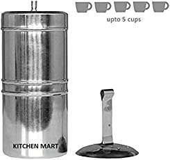 Kitchen Mart Stainless Steel South Indian Coffee Filter Size:8 (425 ML) (5 cups)