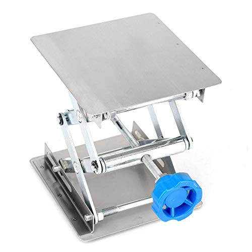 Hubtische Edelstahl Labor Hebeplattform Ständer Rack Scissor Jack Heber 100 * 100 * 160mm(Blauer Griff) 160 Jack