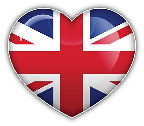 Bandiera Regno Unito World glossy Heart Art Decor adesivo paraurti 12x 10cm