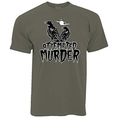 Halloween T-Shirt Mordversuch Crow Pun Khaki X-Large