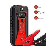 XAJGW 600A 12000Mah tragbarer Auto-Sprungs-Starter, Auto Battery Booster & Charger Pack, externes Ladegerät mit Zwei USB-Ausgängen, LED-Taschenlampe, mit Leitungsclip