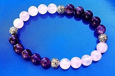 Bracelet en perles naturelles Améthyste et quartz rose de 8mm