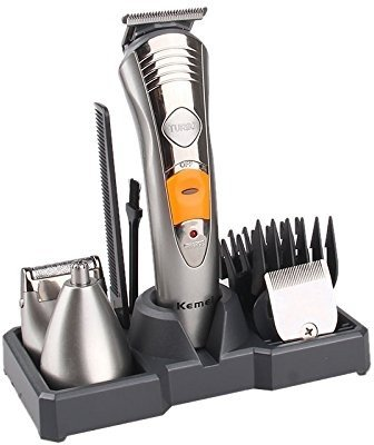 Kmei Kemei 7 in 1 Rechargeable Grooming Kit Multifunctional Unisex Hair Clipper and Trimmer - KM-580A (Silver)