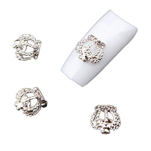 Gazechimp 10 Stk. 3D Nagelspitze Aufkleber, Nagelschmuck, zu Hause DIY, Nagelstudio Nagelkunst Zubehör - Silber Krone