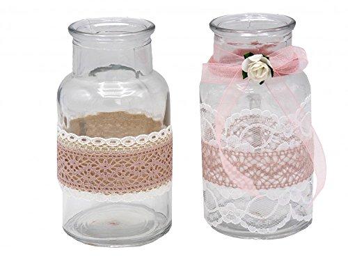 2-Vasen-Glser-Spitze-Rosa-Romantisch-Hochzeit-Vintage-Tischdeko-Deko
