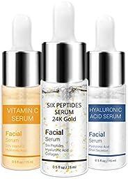 LANBENA Vitamin C Serum - Six Peptides Serum 24K Gold - Hyaluronic Acid Serum,Remove Freckle Fade Dark Spot An