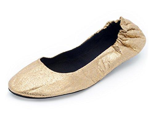 CatMotion Faltbare Schuhe für Die Handtasche, Damen-Ballerinas, Faltbare Ballerinas, Schuhe für Die Tasche, Hollywood, Gold, L (40/41 EU, 6.5/7.5 UK) (Ballerinas Schuhe Gold)